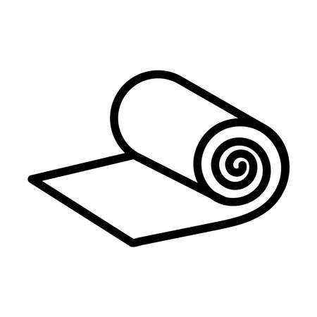 Roll icon of camping or fitness carpet. Design for sport equipment store.