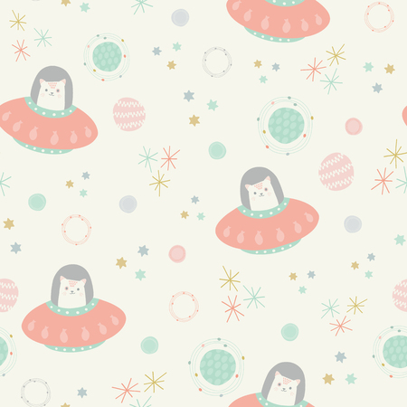 Vector space cats pink seamless repeat pattern background.