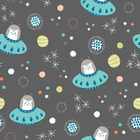 Vector space cats and solar system seamless repeat pattern background. Illustration