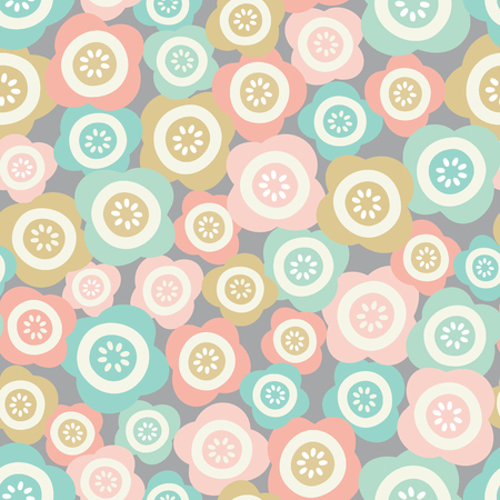 Vector pretty pastel floral tossed seamless repeat pattern background.
