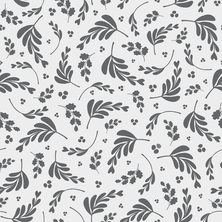 Vector grey and white mixed leaves and berries repeat seamless pattern.