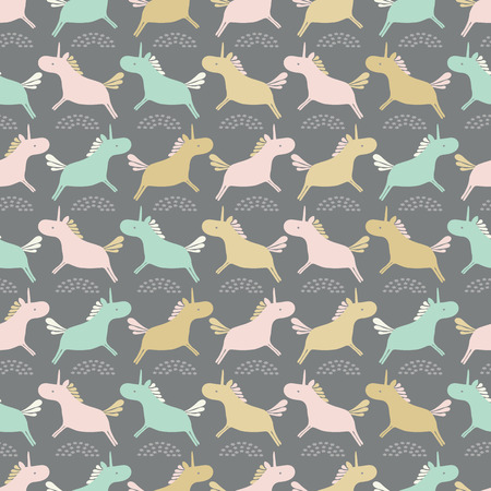 Seamless sweet pastel unicorns silhouette stripe vector repeat pattern background. Ideal for children and babies.