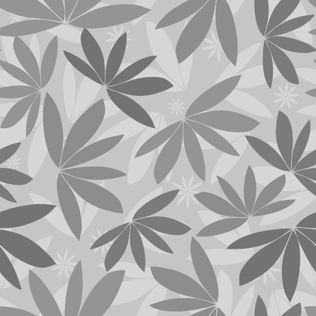 Seamless vector grey tropical pattern silhouette background, papercut foliage in a print design.