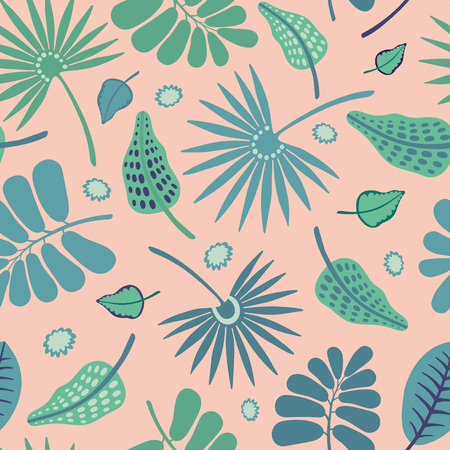 Seamless vector repeat pattern of tropical foliage and flowers. Pretty surface pattern design.