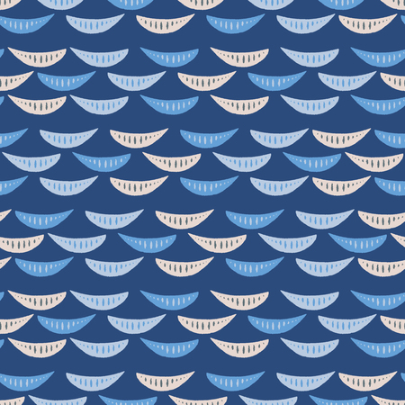 Seamless repeat of hand drawn waves on a dark blue background. Sweet striped sea life vector pattern ideal for children.