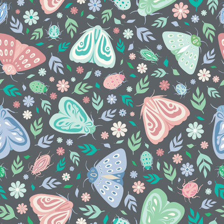 Seamless repeat pattern background of moths, beetles, leaves and flowers. A vector surface design of insects and flora ideal for a spring and summer design.