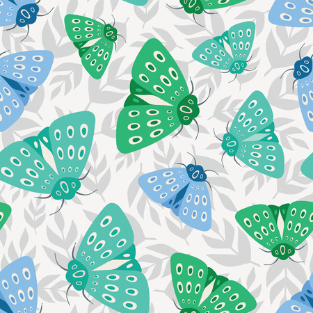 Seamless repeat pattern background of green and blue moths on tossed grey leaves. A vector background of insects and flora ideal for a spring and summer design. Illustration