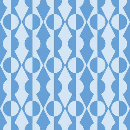 Abstract seamless repeat of triangle and diamond and round shapes. Retro geometric vector design background in blue ideal for fabric, wallpaper and stationery designs.