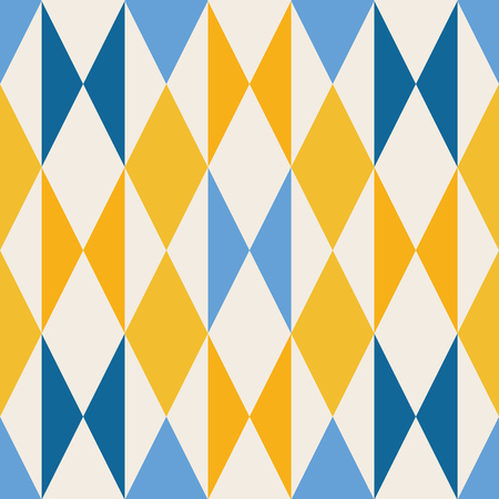 Geometric blue and yellow triangles and diamonds pattern. Vector seamless repeat design background.