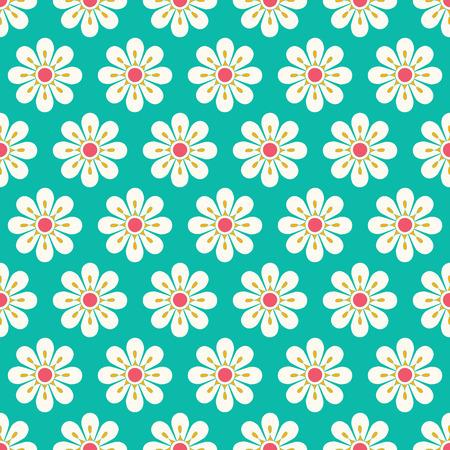 Fleurs de marguerite stylisée sur un modèle sans couture de fond vert. Conception de vecteur floral assez géométrique parfait pour le tissu et les arrière-plans. Vecteurs