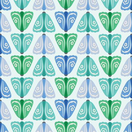 Seamless geometric pattern background of green and blue moths in rows . A nature vector background of insects. Illustration