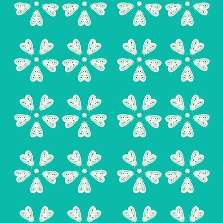 Seamless repeat pattern background of green and cream moths in flowers shapes. A vector background of insects.