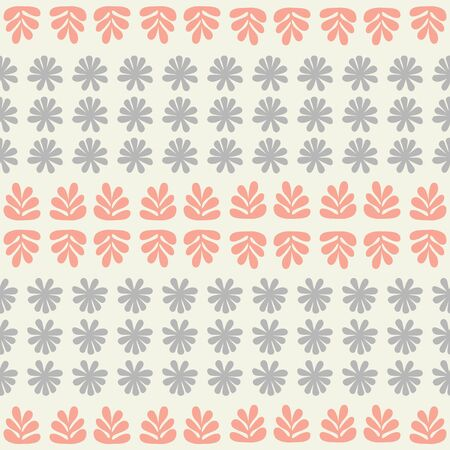 Seamless repeat pattern of stylized flowers and foliage in a geometric pattern. A pretty vector ethnic inspired design.