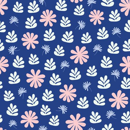 Seamless repeat pattern of stylized flowers and foliage in a tossed pattern. A pretty vector Scandinavian inspired design.