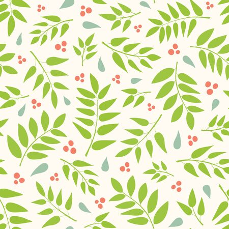 Seamless repeat pattern of hand drawn leaves and berries in a tossed pattern. A pretty vector foliage design. Иллюстрация