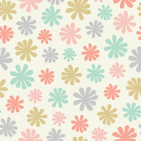 Seamless repeat pattern of stylized flowers in a tossed pastel coloured design. A pretty vector Scandinavian inspired design.