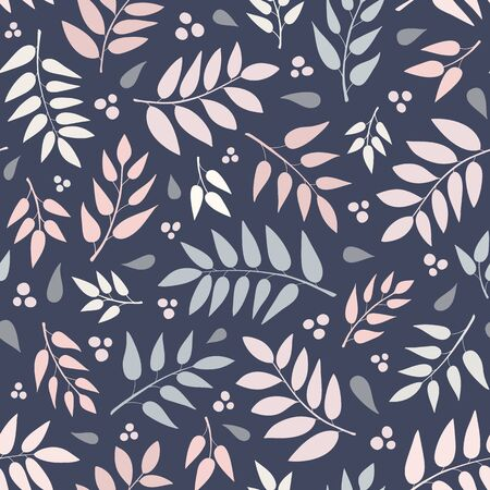 Seamless repeat pattern of hand drawn leaves and berries in a tossed pattern. A pretty vector foliage design. 矢量图像