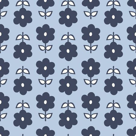Seamless repeat pattern of stylized navy blue flowers and leaves in a geometric pattern. A pretty floral vector design.