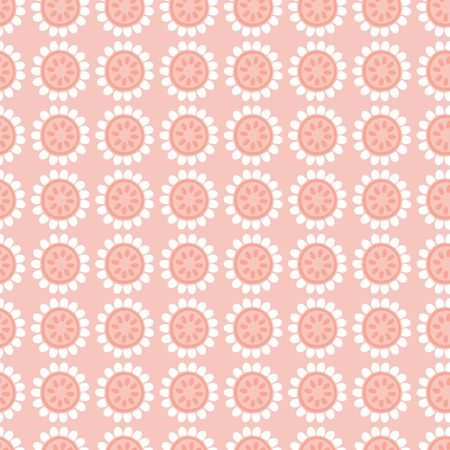 Seamless repeat pattern of stylized pink and white flowers in a geometric pattern. A pretty floral vector design. Иллюстрация