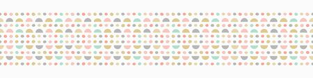 Border repeat pattern of hand drawn semi circles and spots. Geometric vector seamless abstract design ideal for children.