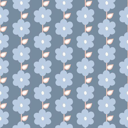 Seamless repeat pattern of stylized blue flowers and leaves in a geometric pattern. A pretty floral vector design.