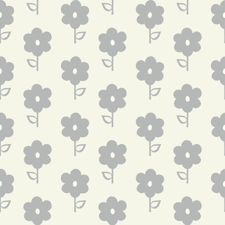 Seamless repeat pattern of stylized grey flowers and leaves in a geometric pattern. A pretty hand drawn floral vector design.