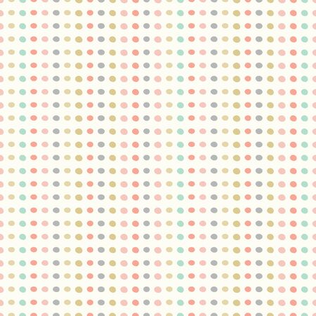 Seamless repeat pattern of hand drawn dots in rows. Pastel coloured spots in a vector geometric design.