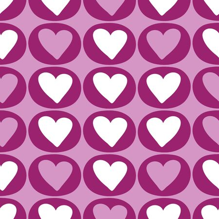 Simple geometric pattern of purple hearts in circles. A pretty vector seamless repeat pattern ideal for valentines fabric, scrap booking and stationery projects projects.