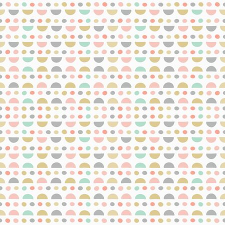 Geometric repeat pattern of hand drawn semi circles and spots. Sweet pastel vector seamless abstract background ideal for children and baby projects