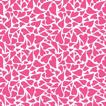 Hand drawn pink tossed hearts on a white background. A pretty vector seamless repeat pattern ideal for valentines fabric, scrap booking and stationery projects projects. Иллюстрация