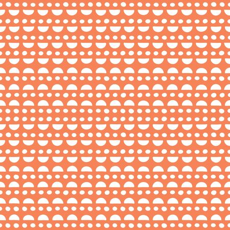 Hand drawn semi circles and spots pattern on an orange background. Bright and fun vector seamless abstract repeat design.