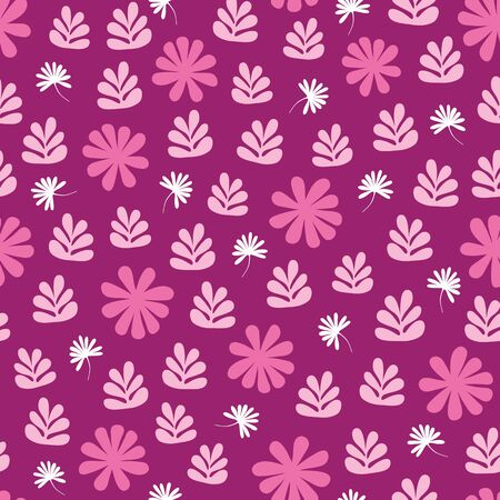 Stylized purple flowers and foliage seamless repeat pattern. A pretty vector Scandinavian inspired tossed design.