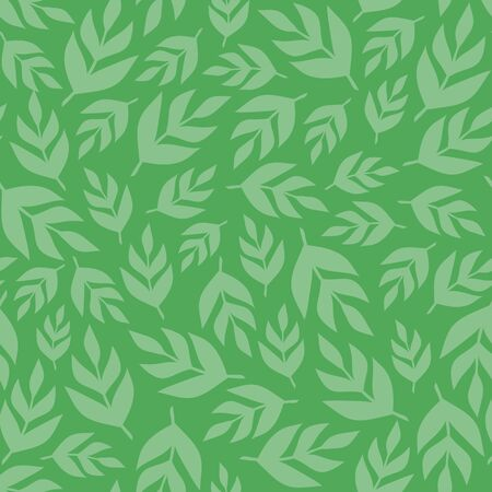 Tossed green leaf seamless pattern. A vector foliage repeat design background.
