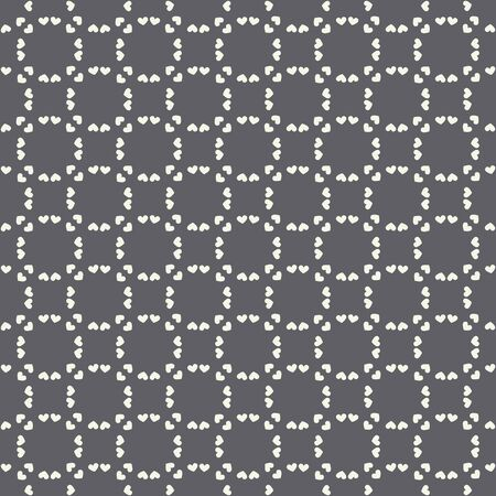 Geometric heart pattern black and white seamless repeat. A vector pattern design ideal for valentine projects.