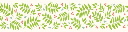 Leaves and berries seamless border pattern. A nature vector repeat ideal for banners and edging.