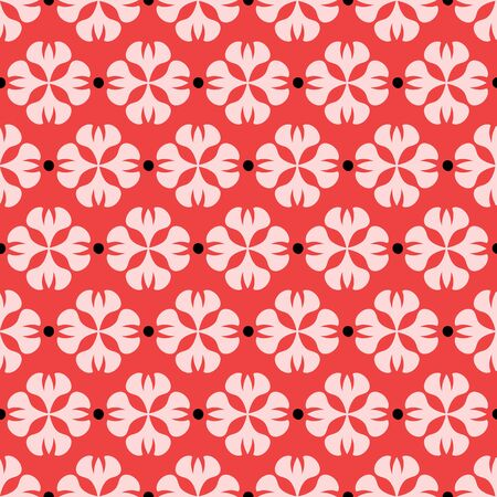 Abstract geometric floral seamless pattern. A stylized floral vector repeat design background in pink, red and black.