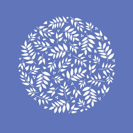 Hand drawn leaves and berry illustration. A pretty foliage silhouette vector design in a circle shape ideal for cards, embroidery and decoration.