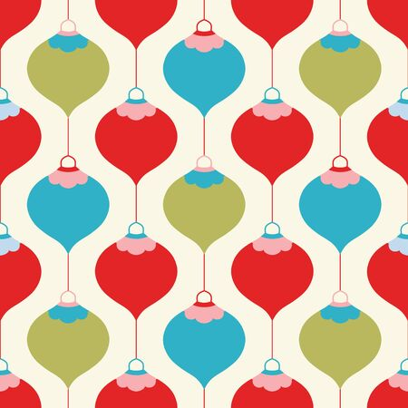 Christmas bauble pattern design in red, green and turquoise. Seamless vector seasonal geometrical illustration. Banque d'images - 130416098