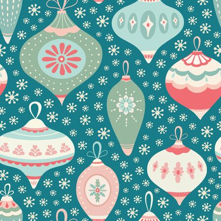 Christmas bauble pattern design with snowflakes in green, pink and blue. Seamless vintage style vector seasonal illustration. Banque d'images - 130416108