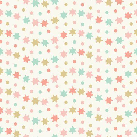Étoile dessinée à la main et motif de répétition sans couture à rayures ondulées. Conception vectorielle de couleur pastel douce idéale pour les projets d'enfants et de bébé.