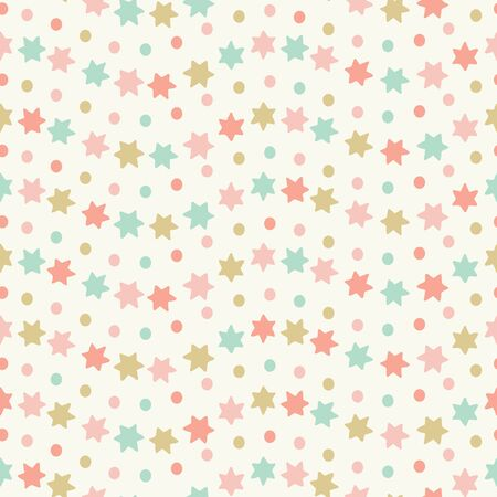 Hand drawn star and spots wavy striped seamless repeat pattern. Sweet pastel coloured vector design ideal for children and baby projects.