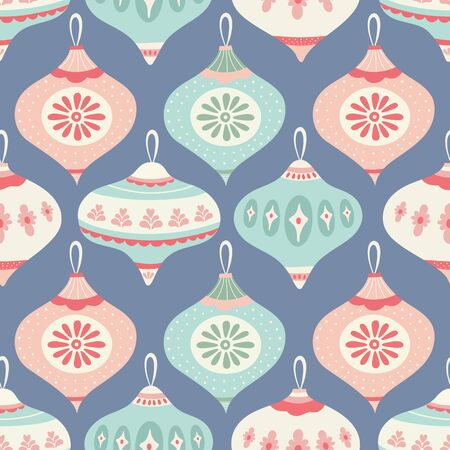 Christmas bauble pattern design in green, pink and blue. Seamless vintage style vector seasonal illustration. Banque d'images - 130416115