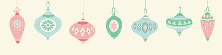 Christmas hanging baubles pattern design in green, pink and blue. Seamless vintage style vector seasonal illustration.