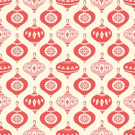 Christmas bauble geometric pattern design in red, pink and cream. Seamless vintage style vector seasonal illustration. Banque d'images - 130416118