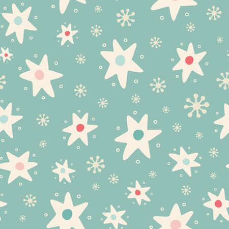 Christmas tossed star and snowflake seamless pattern background. Hand drawn seasonal vector repeat design in vintage colours. Illustration
