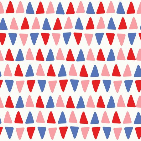 Sweet vector seamless repeat pattern of hand drawn small triangles in blue, pink and red. A fun abstract geometric repeat design background.