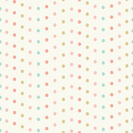 Sweet spotted seamless repeat pattern in pastel colours. Vector design of dots in wavy lines ideal for children and babies.