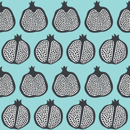 Pomegranate fruit slices seamless pattern background in black and white and aqua. Hand drawn healthy food vector repeat.