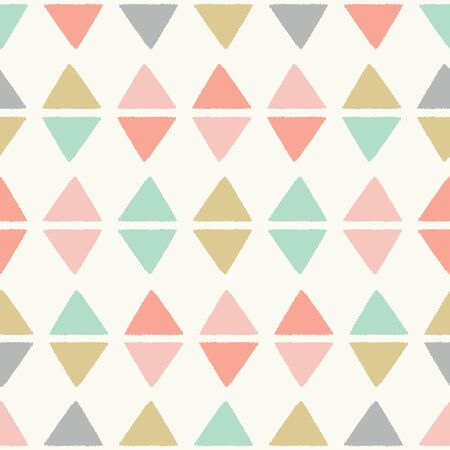 Textured triangles in a geometric diamond seamless vector pattern. A sweet repeat design background ideal for children and baby projects.