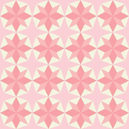 Patrón de fondo de repetición perfecta de edredón de patchwork rosa de vector con forma de estrella.